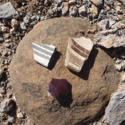 Sherds and lithic - photo by K.Meredith